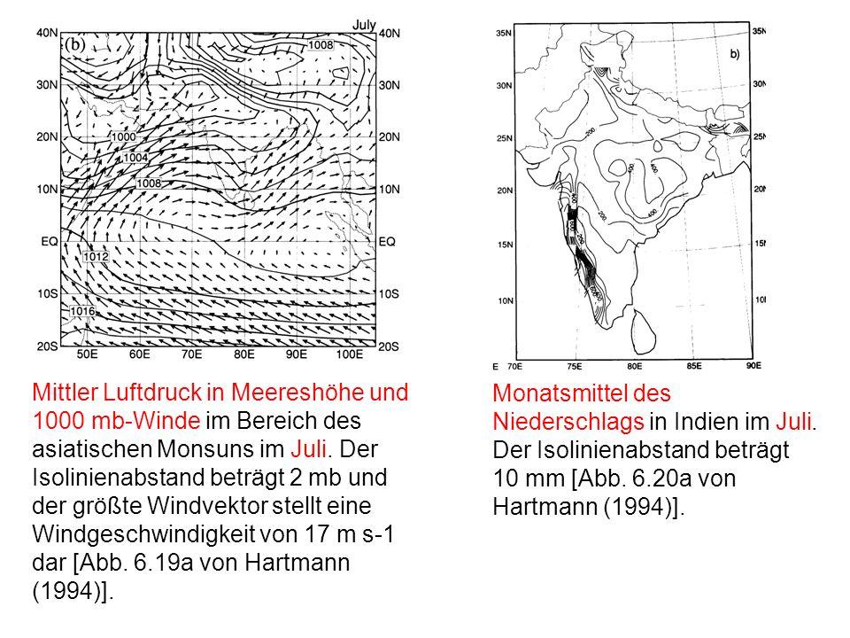 Mittler Luftdruck in Meereshöhe und 1000 mb-Winde im Bereich des asiatischen Monsuns im Juli. Der Isolinienabstand beträgt 2 mb und der größte Windvektor stellt eine Windgeschwindigkeit von 17 m s-1 dar [Abb. 6.19a von Hartmann (1994)].